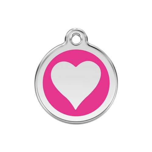 Red Dingo Heart Enamel Stainless Steel Dog ID Tag Hot Pink Medium