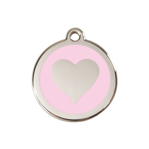 Red Dingo Heart Enamel Stainless Steel Dog ID Tag Pink Medium