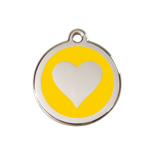 Red Dingo Heart Enamel Stainless Steel Dog ID Tag Yellow Medium