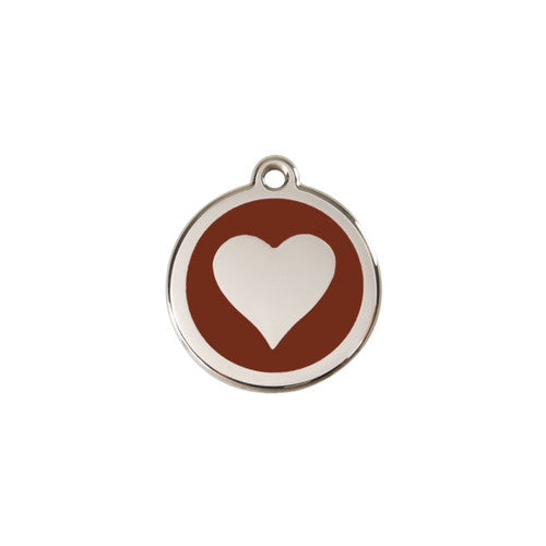 Red Dingo Heart Enamel Stainless Steel Dog ID Tag Brown Small