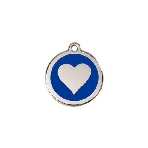 Red Dingo Heart Enamel Stainless Steel Dog ID Tag Dark Blue Small