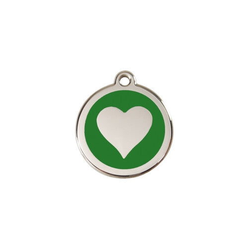 Red Dingo Heart Enamel Stainless Steel Dog ID Tag Green Small