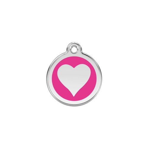 Red Dingo Heart Enamel Stainless Steel Dog ID Tag Hot Pink Small