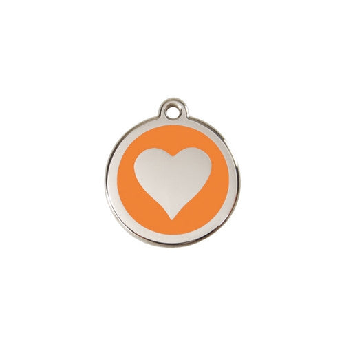 Red Dingo Heart Enamel Stainless Steel Dog ID Tag Orange Small