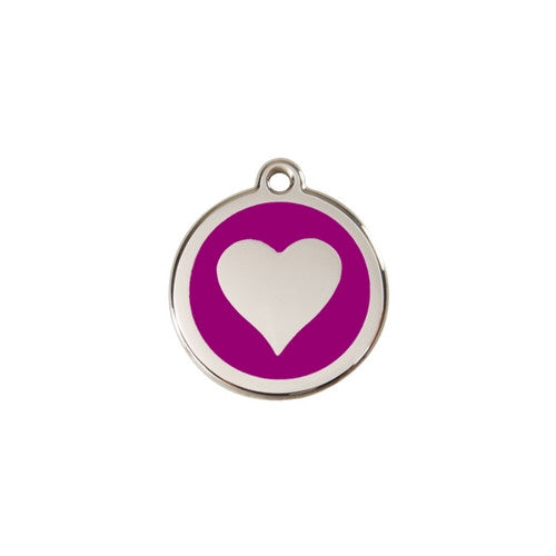 Red Dingo Heart Enamel Stainless Steel Dog ID Tag Purple Small