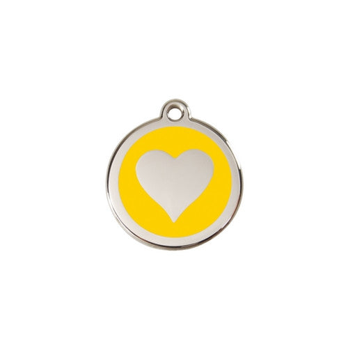 Red Dingo Heart Enamel Stainless Steel Dog ID Tag Yellow Small