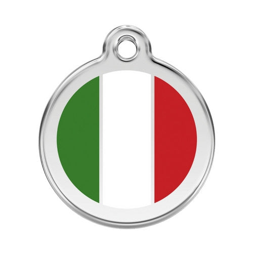 Red Dingo Enamel Stainless Steel National Flag Dog ID Tag Italy Large