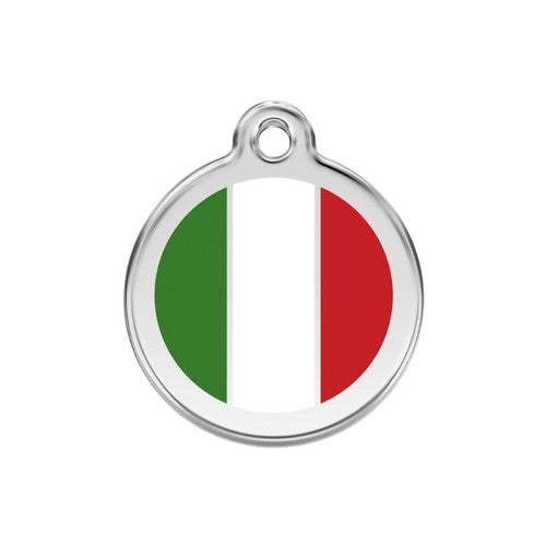 Red Dingo Enamel Stainless Steel National Flag Dog ID Tag Italy Medium