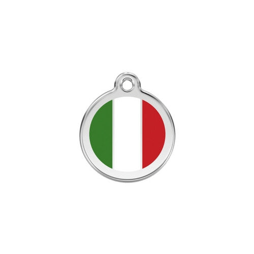 Red Dingo Enamel Stainless Steel National Flag Dog ID Tag Italy Small