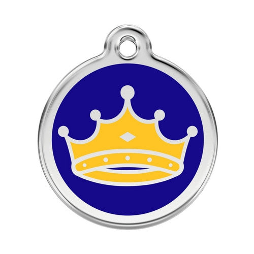 Red Dingo King Crown Enamel Stainless Steel Dog ID Tag Large