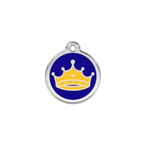 Red Dingo King Crown Enamel Stainless Steel Dog ID Tag Small