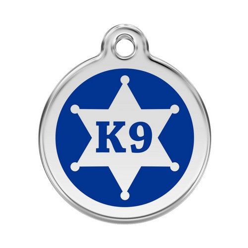 Red Dingo K9 Sheriff Enamel Stainless Steel Dog ID Tag Large