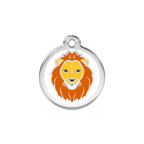 Red Dingo Lion Enamel Stainless Steel Dog ID Tag Size Large