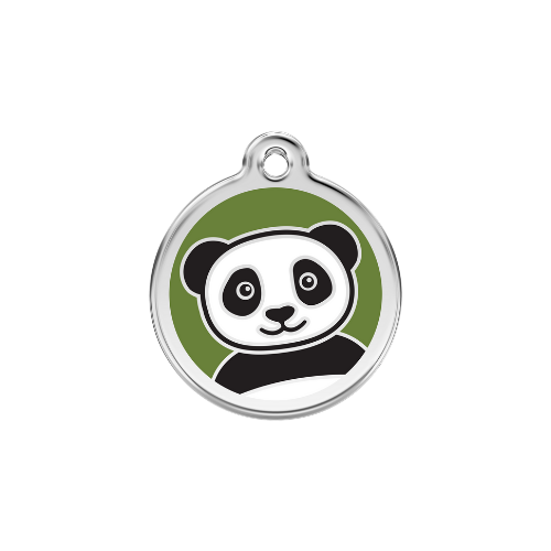 Red Dingo Panda Enamel Stainless Steel Dog ID Tag Size Large