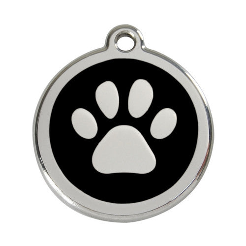Red Dingo Paw Print Enamel Stainless Steel Dog ID Tag Black Large