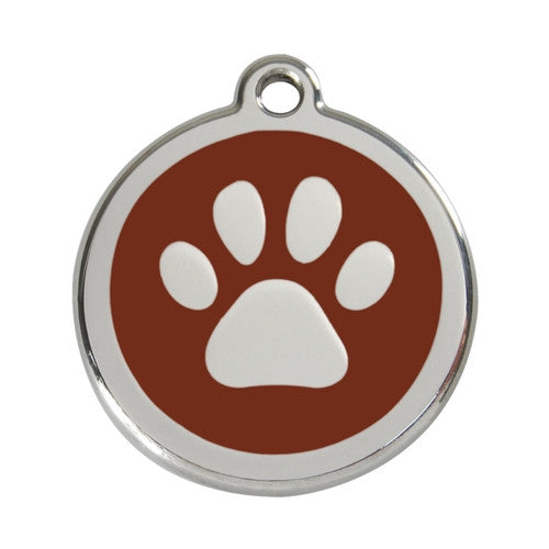 Red Dingo Paw Print Enamel Stainless Steel Dog ID Tag Brown Large
