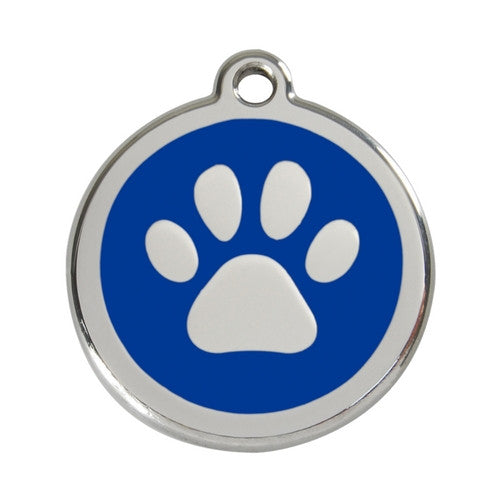 Red Dingo Paw Print Enamel Stainless Steel Dog ID Tag Dark Blue Large
