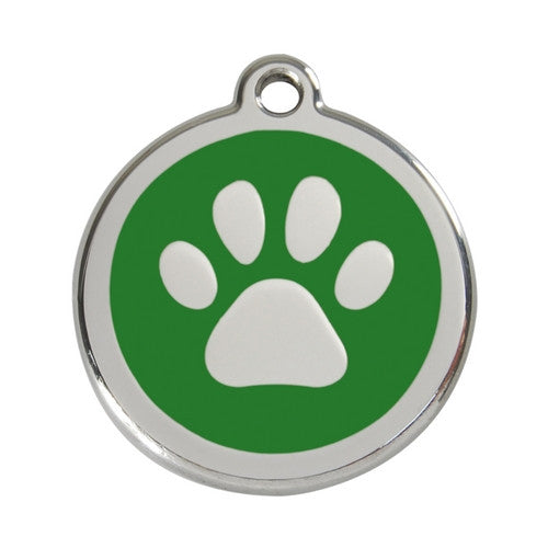 Red Dingo Paw Print Enamel Stainless Steel Dog ID Tag Green Large