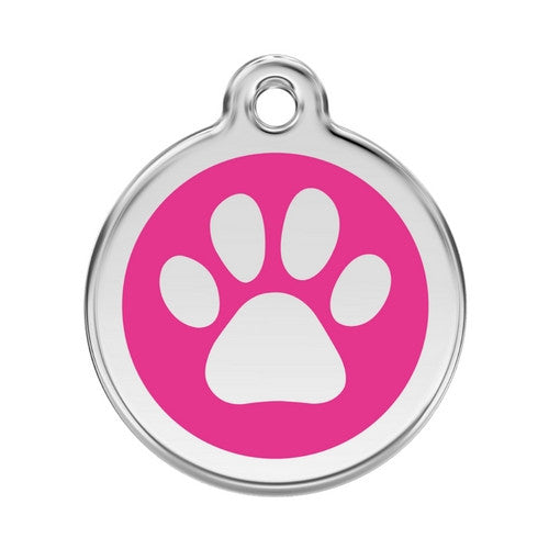 Red Dingo Paw Print Enamel Stainless Steel Dog ID Tag Hot Pink Large