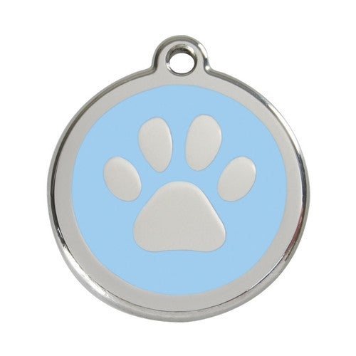 Red Dingo Paw Print Enamel Stainless Steel Dog ID Tag Light Blue Large