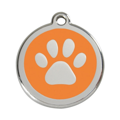 Red Dingo Paw Print Enamel Stainless Steel Dog ID Tag Orange Large