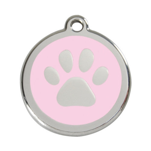 Red Dingo Paw Print Enamel Stainless Steel Dog ID Tag Pink Large