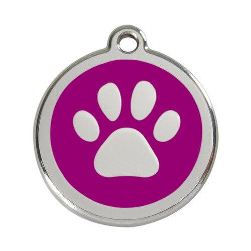 Red Dingo Paw Print Enamel Stainless Steel Dog ID Tag Purple Large