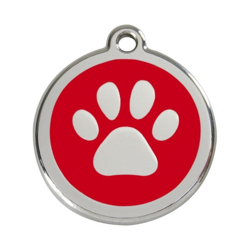 Red Dingo Paw Print Enamel Stainless Steel Dog ID Tag Red Large