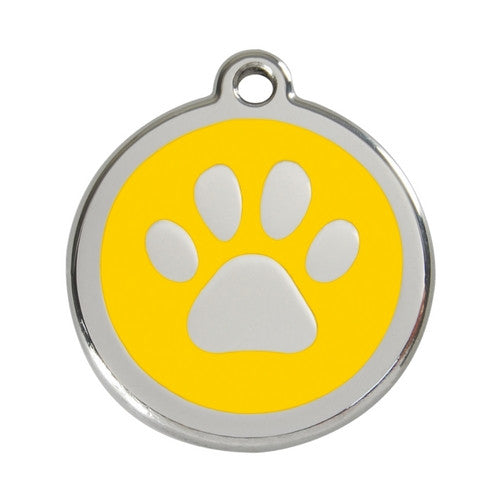 Red Dingo Paw Print Enamel Stainless Steel Dog ID Tag Yellow Large