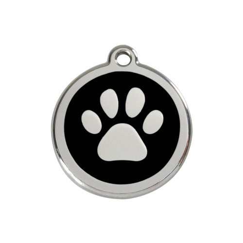Red Dingo Paw Print Enamel Stainless Steel Dog ID Tag Black Medium