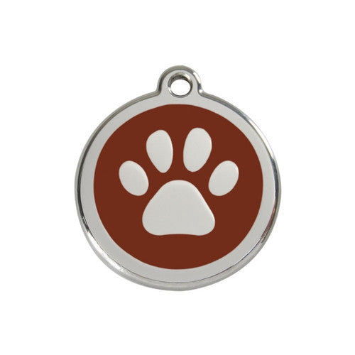 Red Dingo Paw Print Enamel Stainless Steel Dog ID Tag Brown Medium
