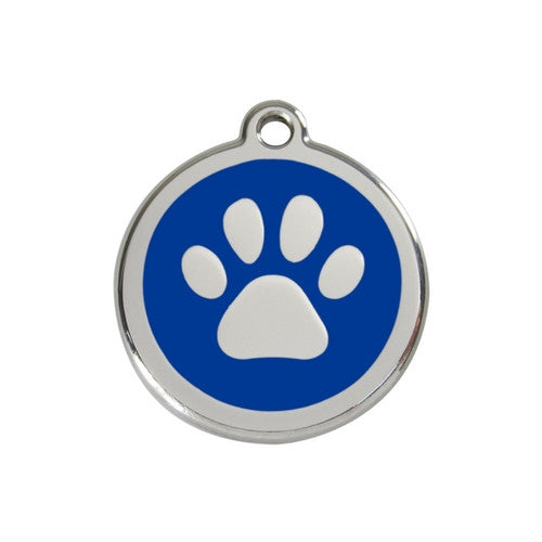 Red Dingo Paw Print Enamel Stainless Steel Dog ID Tag Dark Blue Medium