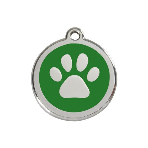 Red Dingo Paw Print Enamel Stainless Steel Dog ID Tag Green Medium