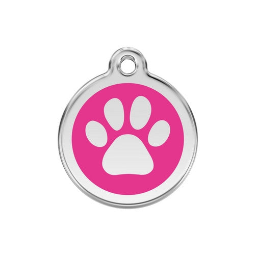 Red Dingo Paw Print Enamel Stainless Steel Dog ID Tag Hot Pink Medium