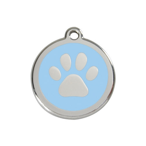 Red Dingo Paw Print Enamel Stainless Steel Dog ID Tag Light Blue Medium