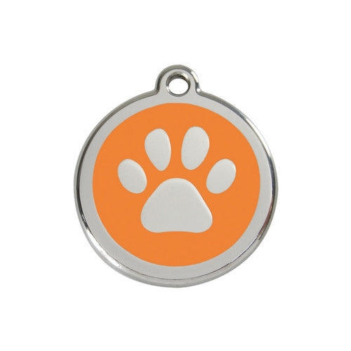 Red Dingo Paw Print Enamel Stainless Steel Dog ID Tag Orange Medium