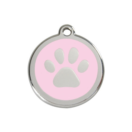 Red Dingo Paw Print Enamel Stainless Steel Dog ID Tag Pink Medium