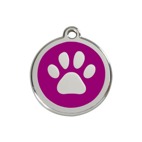 Red Dingo Paw Print Enamel Stainless Steel Dog ID Tag Purple Medium
