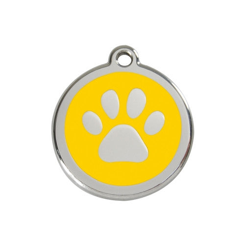 Red Dingo Paw Print Enamel Stainless Steel Dog ID Tag Yellow Medium