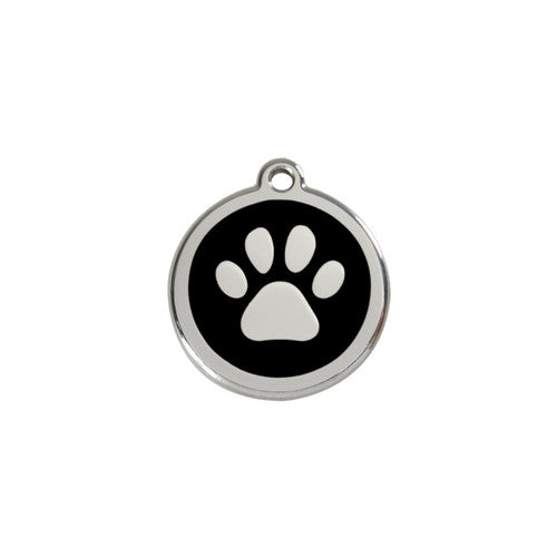 Red Dingo Paw Print Enamel Stainless Steel Dog ID Tag Black Small