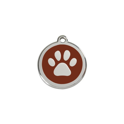 Red Dingo Paw Print Enamel Stainless Steel Dog ID Tag Brown Small