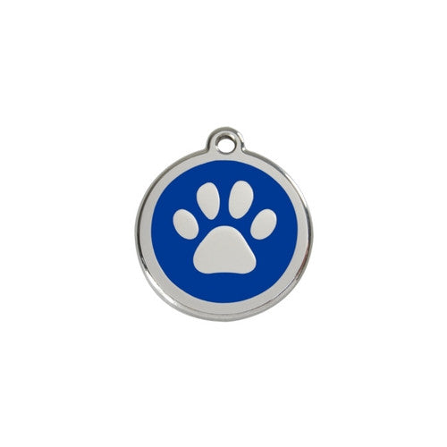 Red Dingo Paw Print Enamel Stainless Steel Dog ID Tag Dark Blue Small