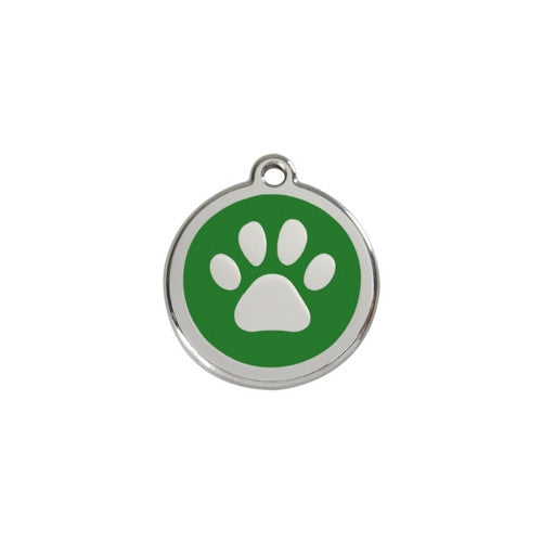 Red Dingo Paw Print Enamel Stainless Steel Dog ID Tag Green Small