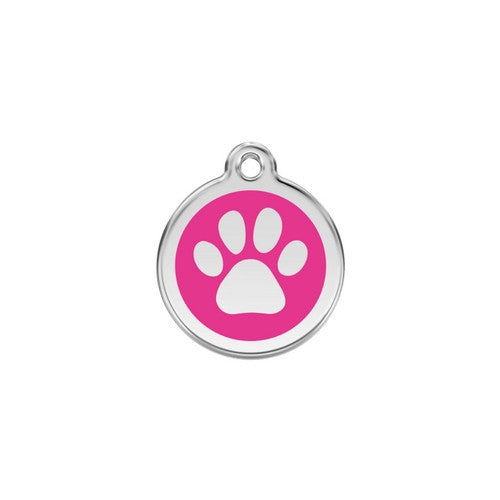 Red Dingo Paw Print Enamel Stainless Steel Dog ID Tag Hot Pink Small