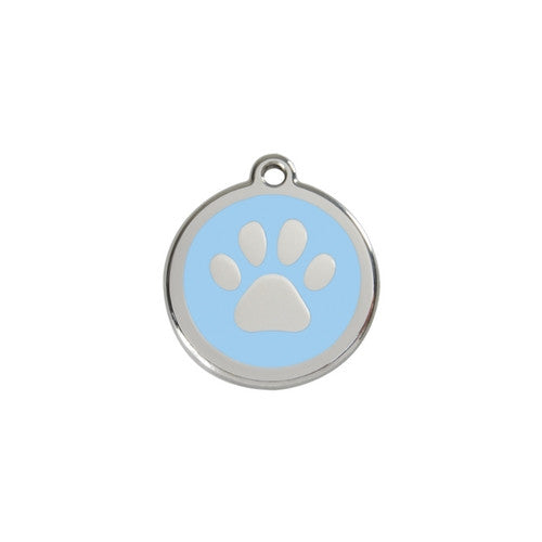 Red Dingo Paw Print Enamel Stainless Steel Dog ID Tag Light Blue Small