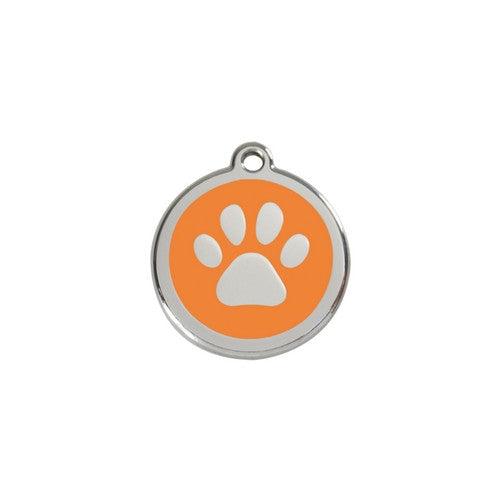 Red Dingo Paw Print Enamel Stainless Steel Dog ID Tag Orange Small