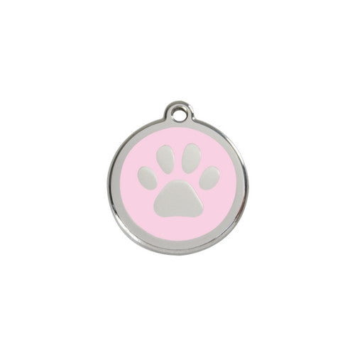 Red Dingo Paw Print Enamel Stainless Steel Dog ID Tag Pink Small