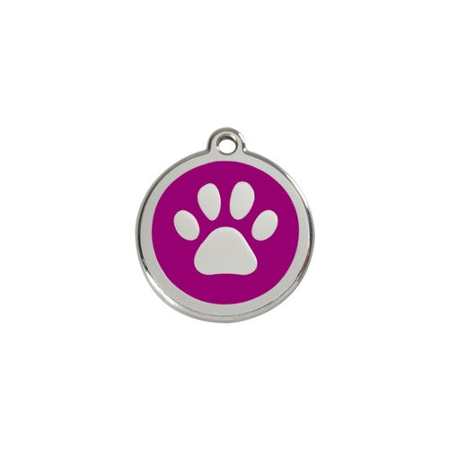 Red Dingo Paw Print Enamel Stainless Steel Dog ID Tag Purple Small