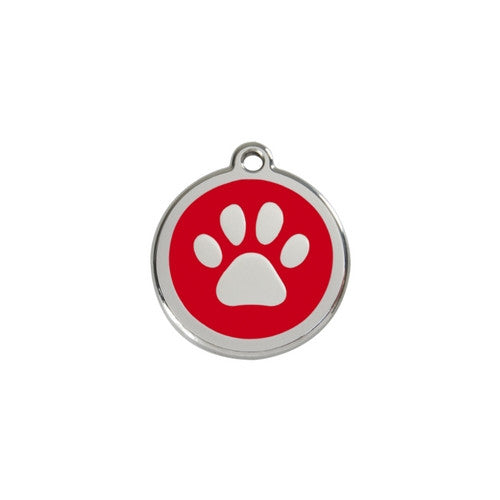 Red Dingo Paw Print Enamel Stainless Steel Dog ID Tag Red Small