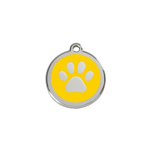 Red Dingo Paw Print Enamel Stainless Steel Dog ID Tag Yellow Small